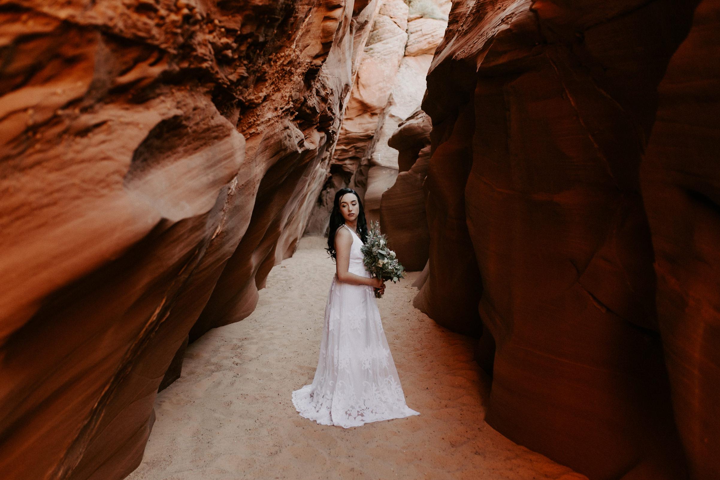 Elopement at Waterholes Canyon in Page Arizona