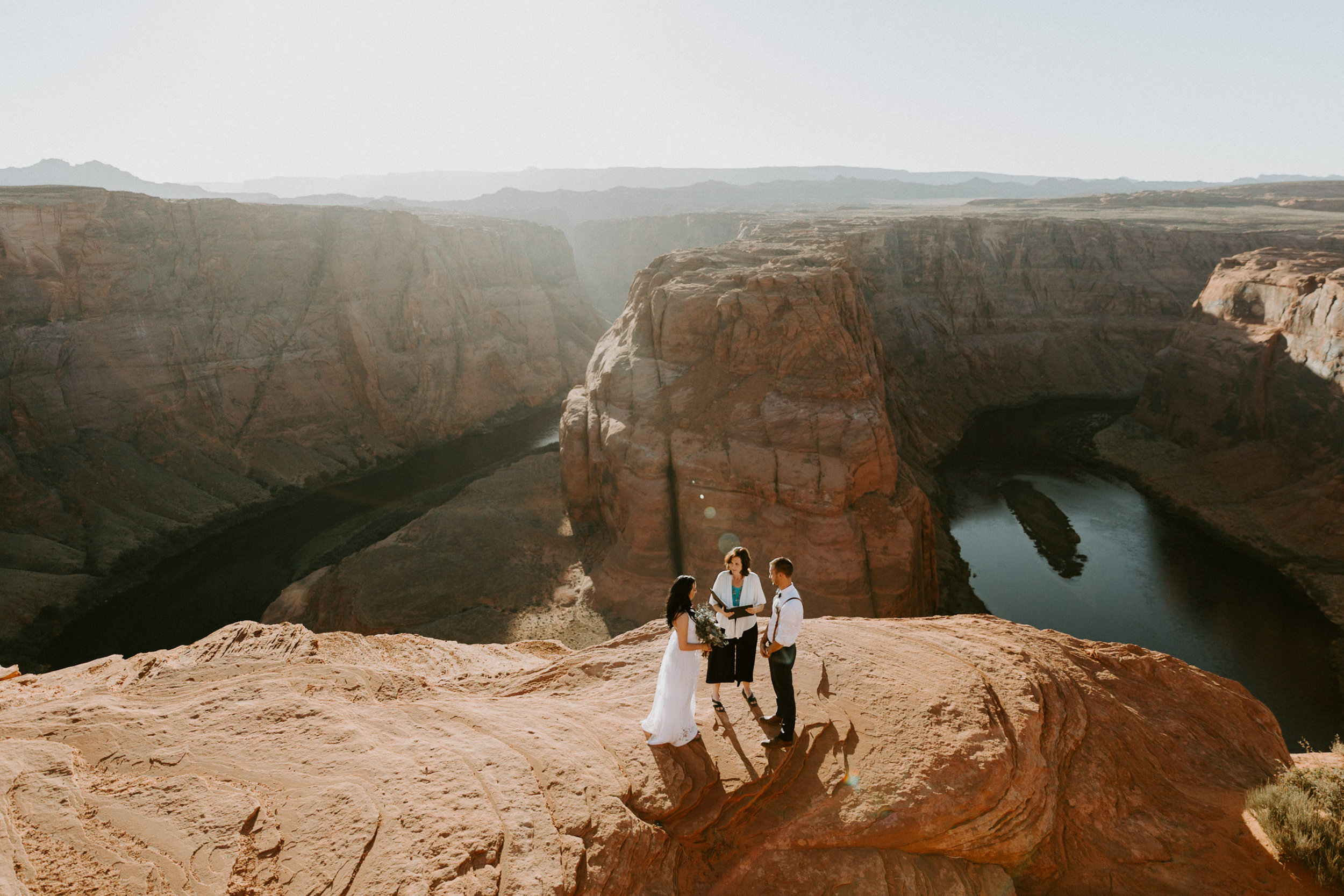 Intimate ceremony during elopement at Horseshoe Bend in Page Arizona