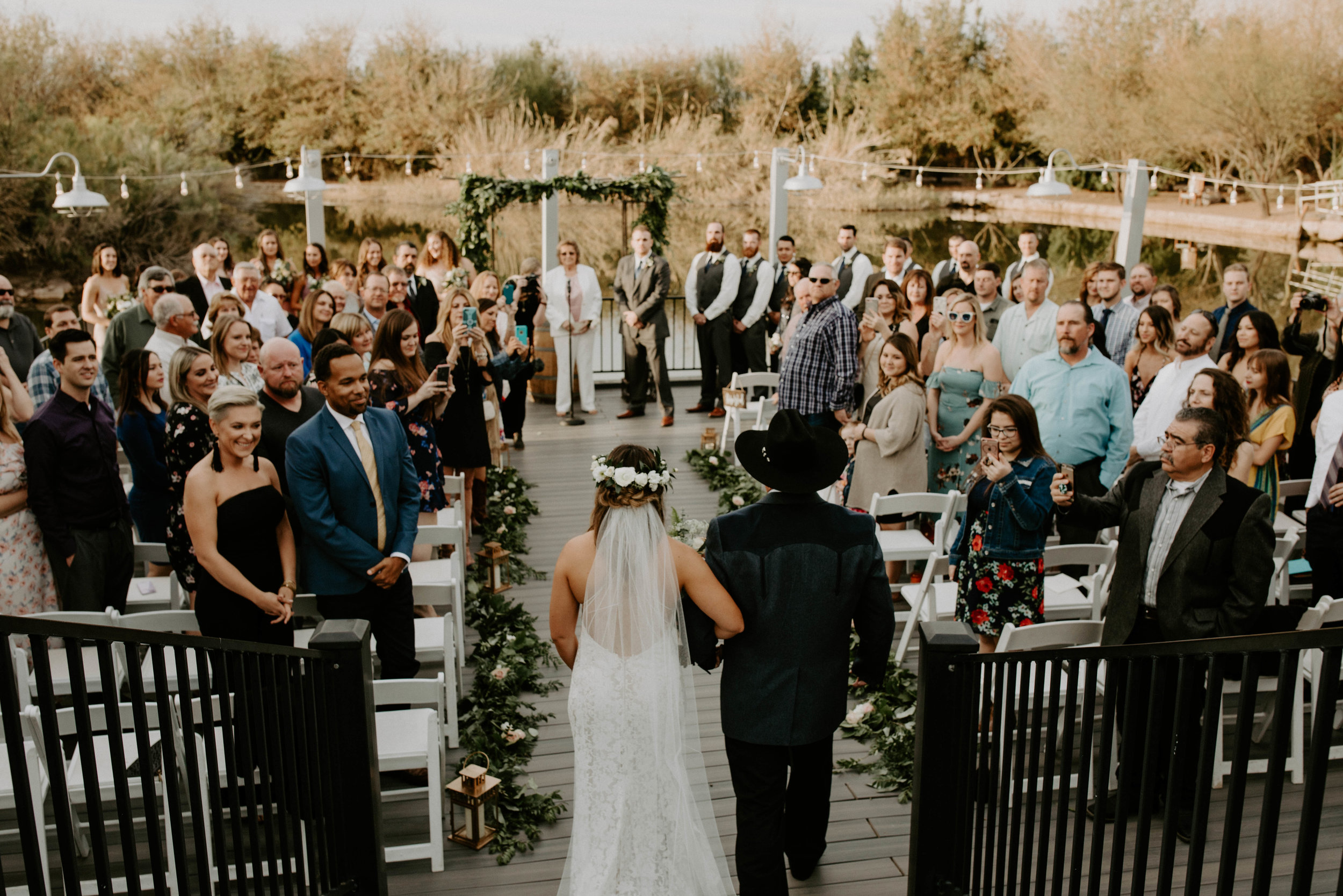 Boat dock ceremony space at Windmill Winery wedding venue in Arizona