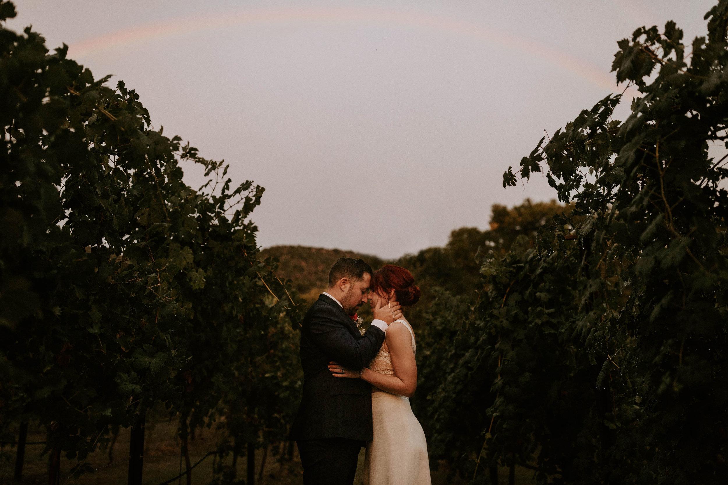 Rainbow in Vineyard in Sedona Arizona Wedding