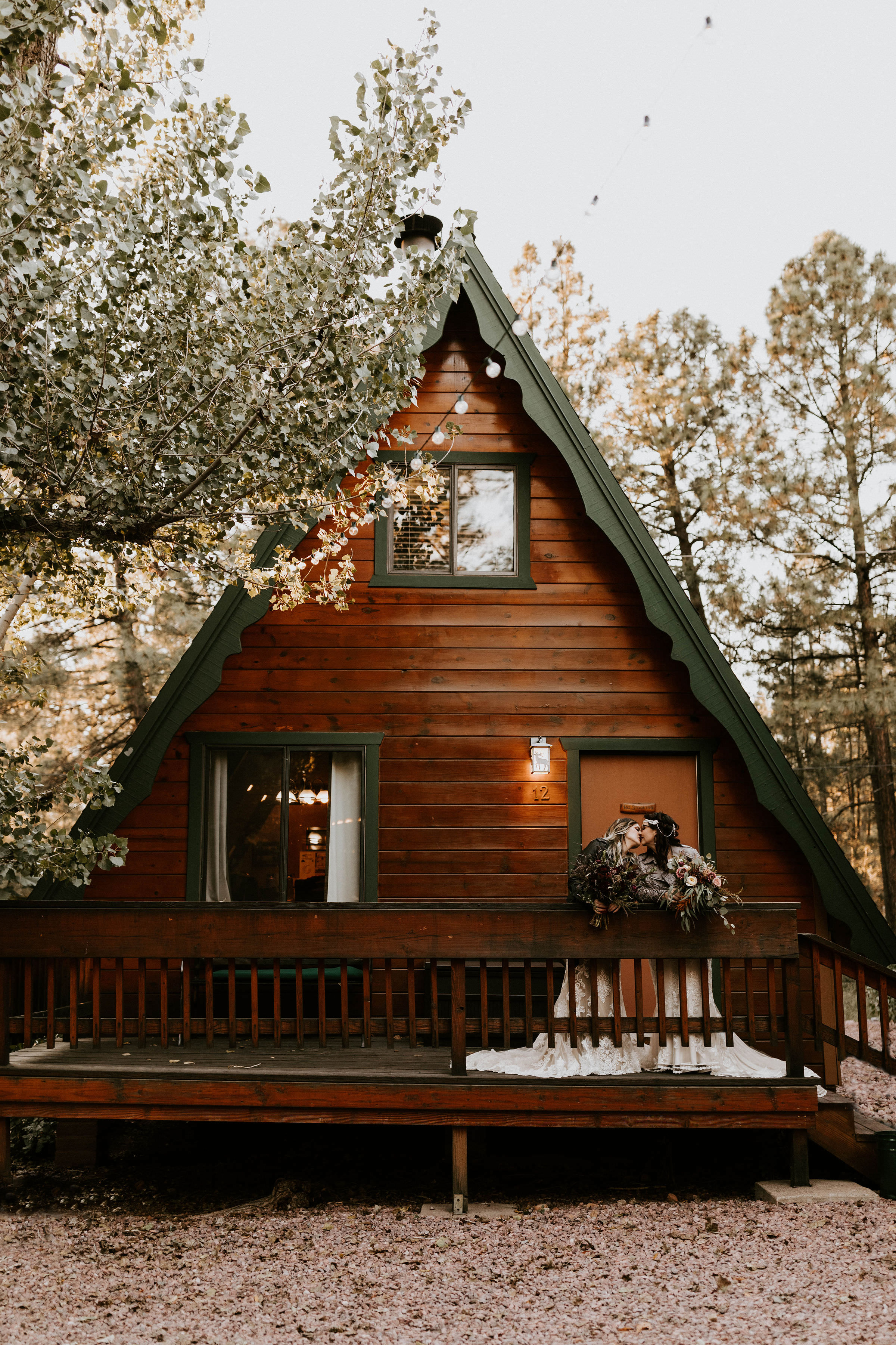 A-frame Cabins on Strawberry Hill in ArizonaCouple at A Frame Cabin in Strawberry Hill, Arizona