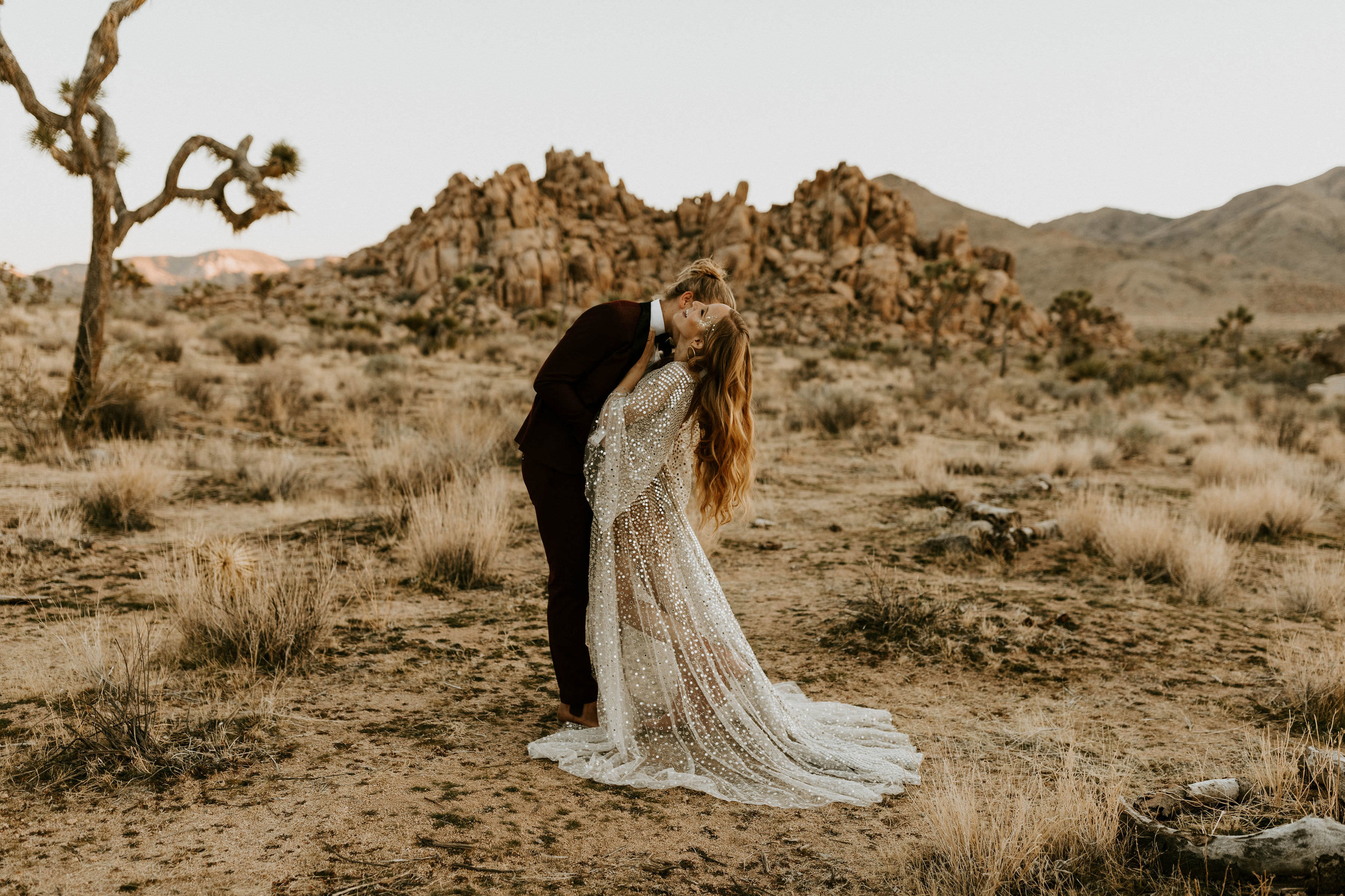 Bride and Groom at NYE Elopement in Joshua Tree National Park in California
