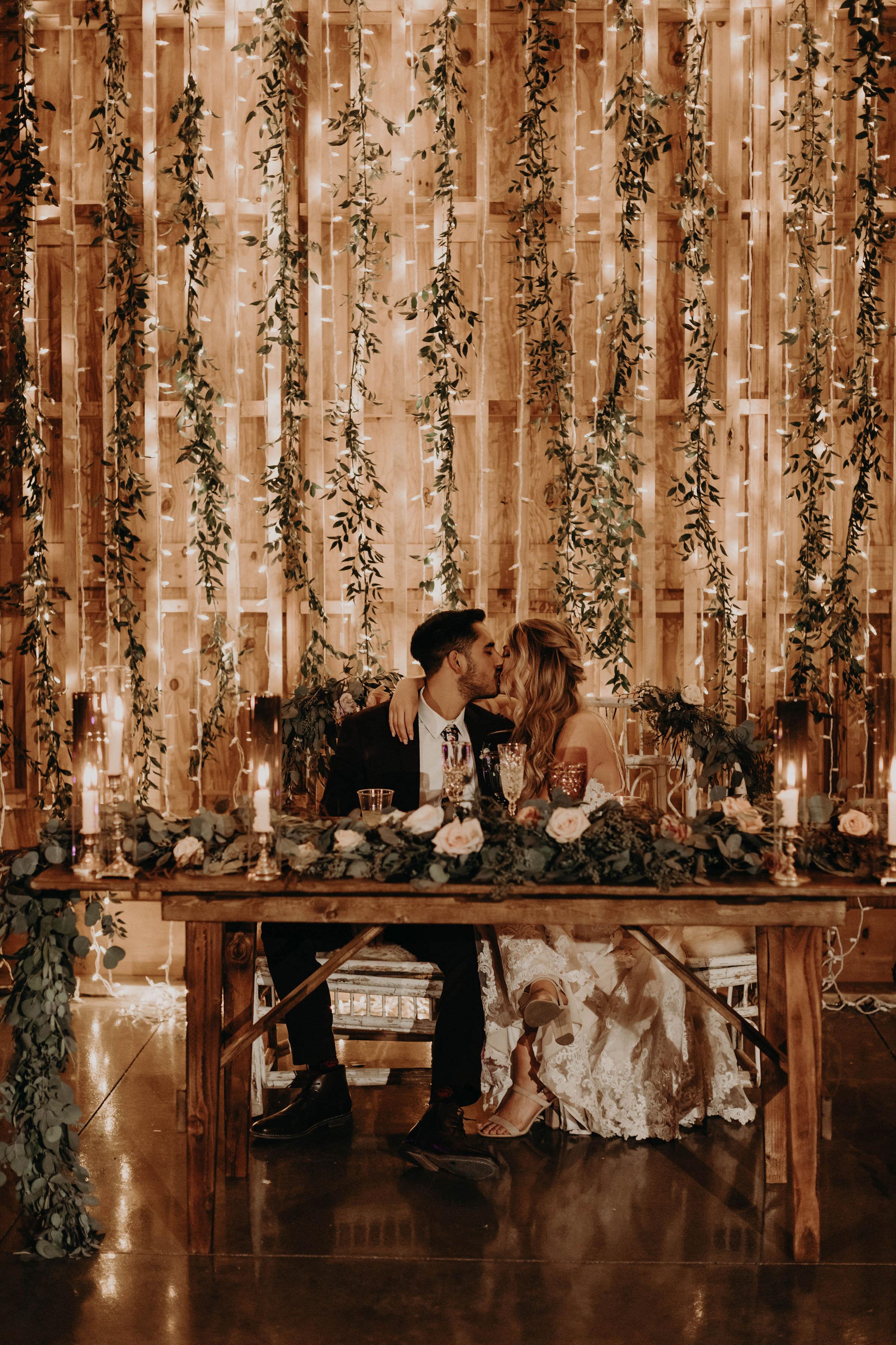 Sparkling backdrop in reception at Paseo Wedding venue