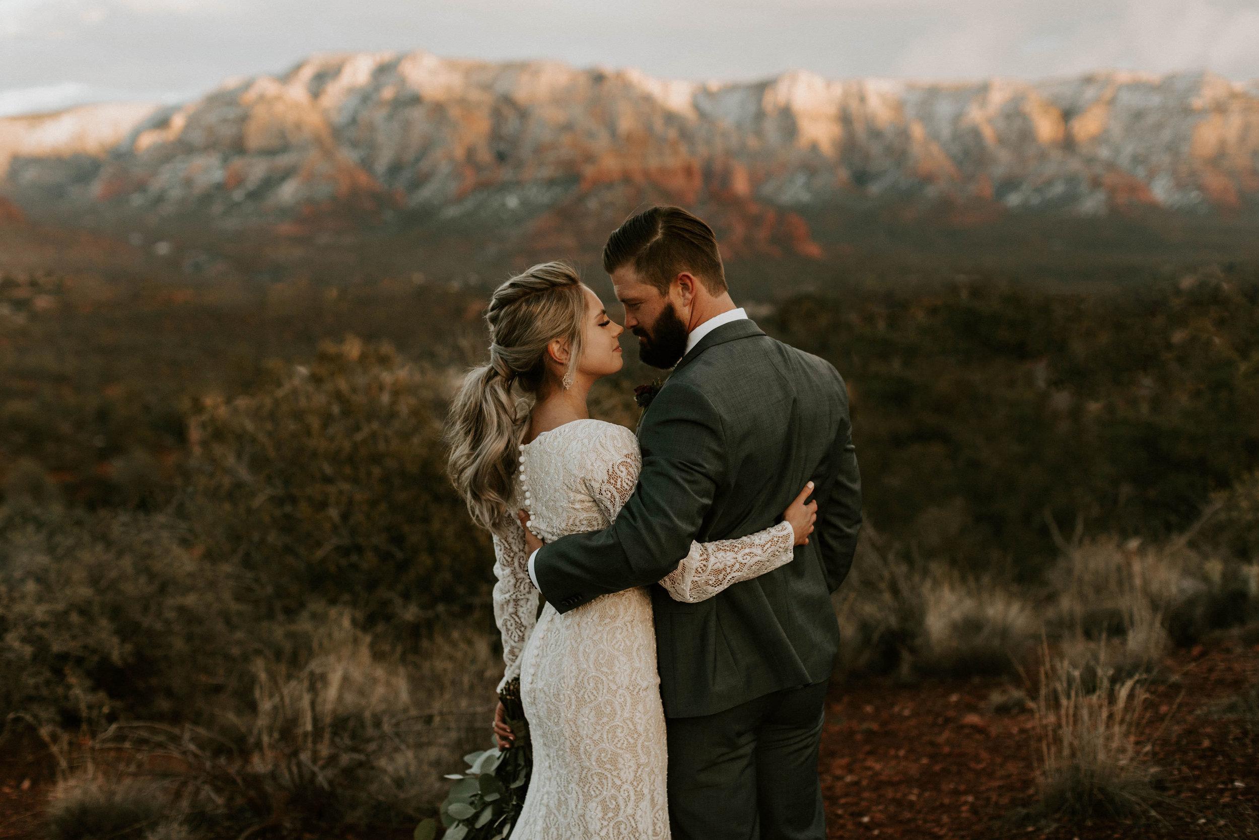 Snowy Sedona Arizona Wedding Photos