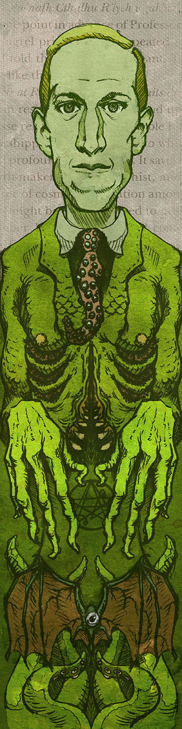 "H.P. Lovecraft   Art Print    5"" x 17""    Signed and Numbered on Archival Paper    $13.99    Click image to purchase"