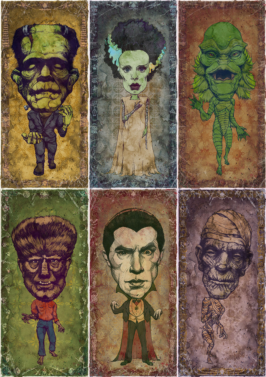"Set of 6 Classic Monster Art Prints    6 individual 9"" x 18"" Prints    Each signed and numbered on archival paper    $116 ($10 Savings!)    Click image to purchase"