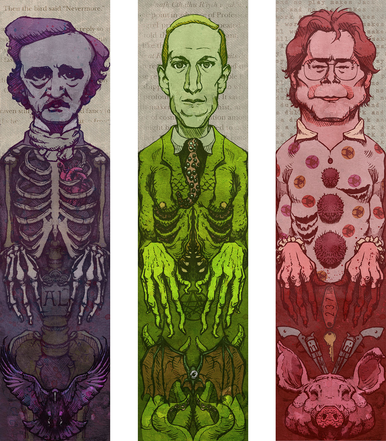 "Set of 3 Horror Author Prints    3 Individual 5"" x 17"" Prints    Signed and numbered on Archival Paper    $40     Click image to purchase"