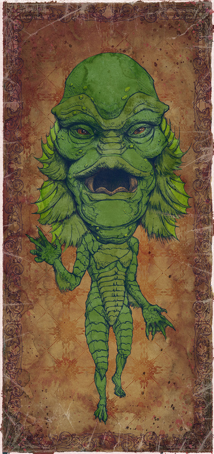 """Creature from the Black Lagoon / Millicent Patrick  Mini Art Print    4 1/2"""" x 9""""    Signed and Numbered on Archival Paper    $10.99    Click image to purchase"""