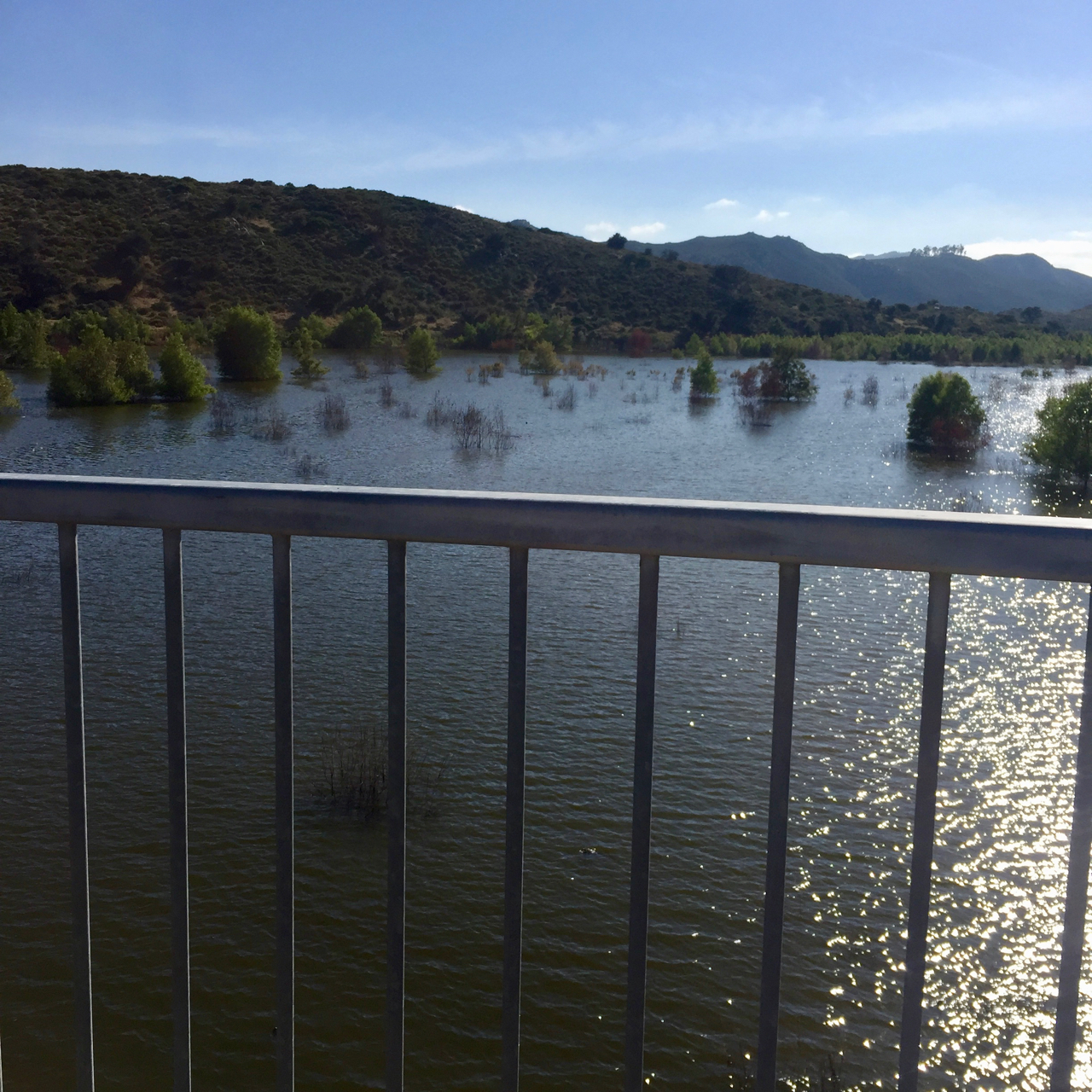 Lake Hodges with water running under the pedestrian/bicycle bridge at Mile 150.