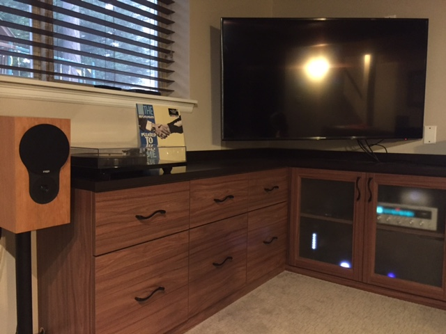 "Sean F System:  Marantz 2015 receiver, Rega P1, Rega RX1 speakers/GHA 24 stands, Sonos Connect, Replacements ""Pleased to Meet Me."""