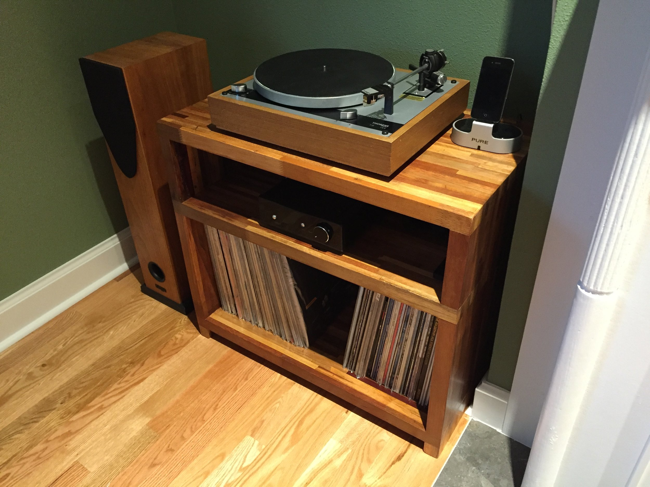 Josh E System:  Rega Brio R, Thorens 145, Rega RS1 speakers, custom GHA mahogany table.