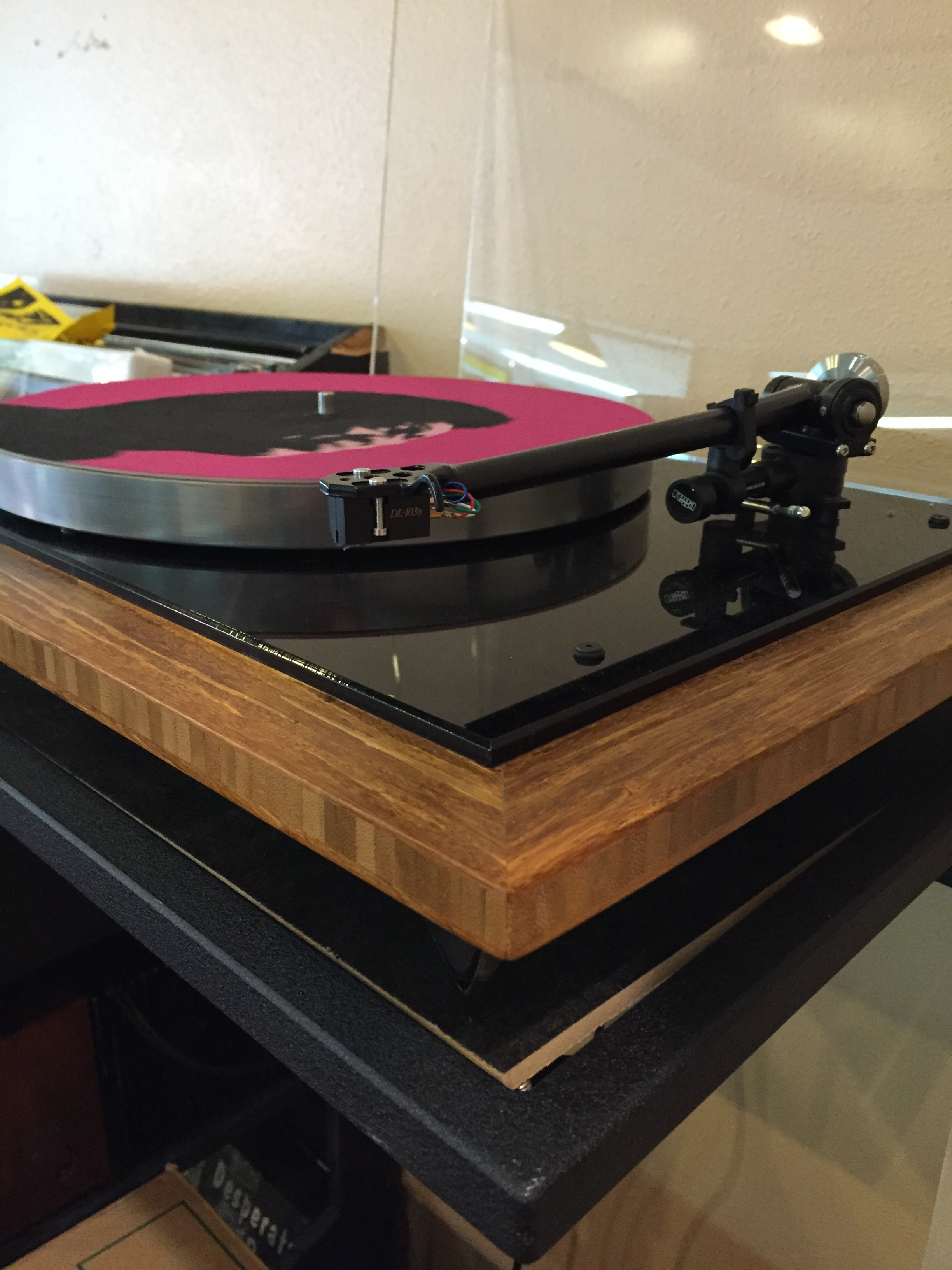 Hi Voltage Records System:  Custom GHA bamboo AR-XA/Rega 303/Denon DL103R, Pioneer 1250 receiver, Project Tube phono stage, JBL speakers.