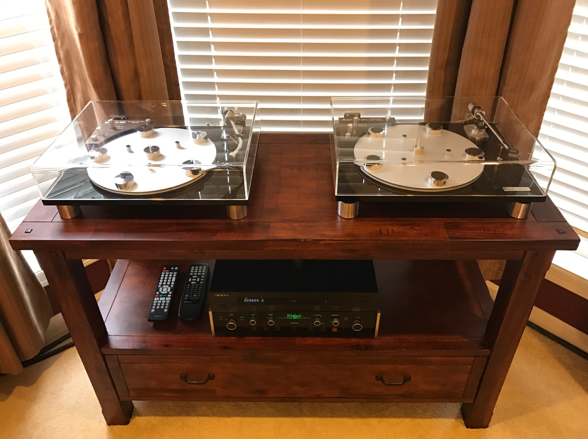 "Troy J System : Left Audio Linear turntable: SME Type II Improved-R VDH MCD-501, Grado G2+. Right Audio Linear turntable: Grace 707 w/NOS DIN cable, 1/4"" glass platter, Grado Prestige Gold cartridge. Playing with: McIntosh 712, Oppo 103, McIntosh MC7200, Monster Signature HTPS 7000, Shunyata Antares (Bal) IC, MIT 3 Bi-wired, and Vandersteen 2CI speakers. Wow."