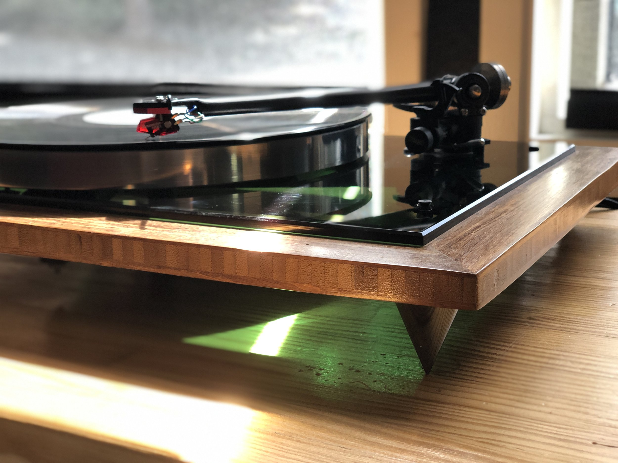 Green  Acoustic Research T-bar, platter, sub-platter, green plexiglass top plate, Rega 303 tonearm, Hurst 300 motor, bamboo custom built base, rocker on/off switch, 2.5 inch metal spikes, custom dust-cover. $999 w/out cartridge (shown with Dynavector 10X5 = $749).