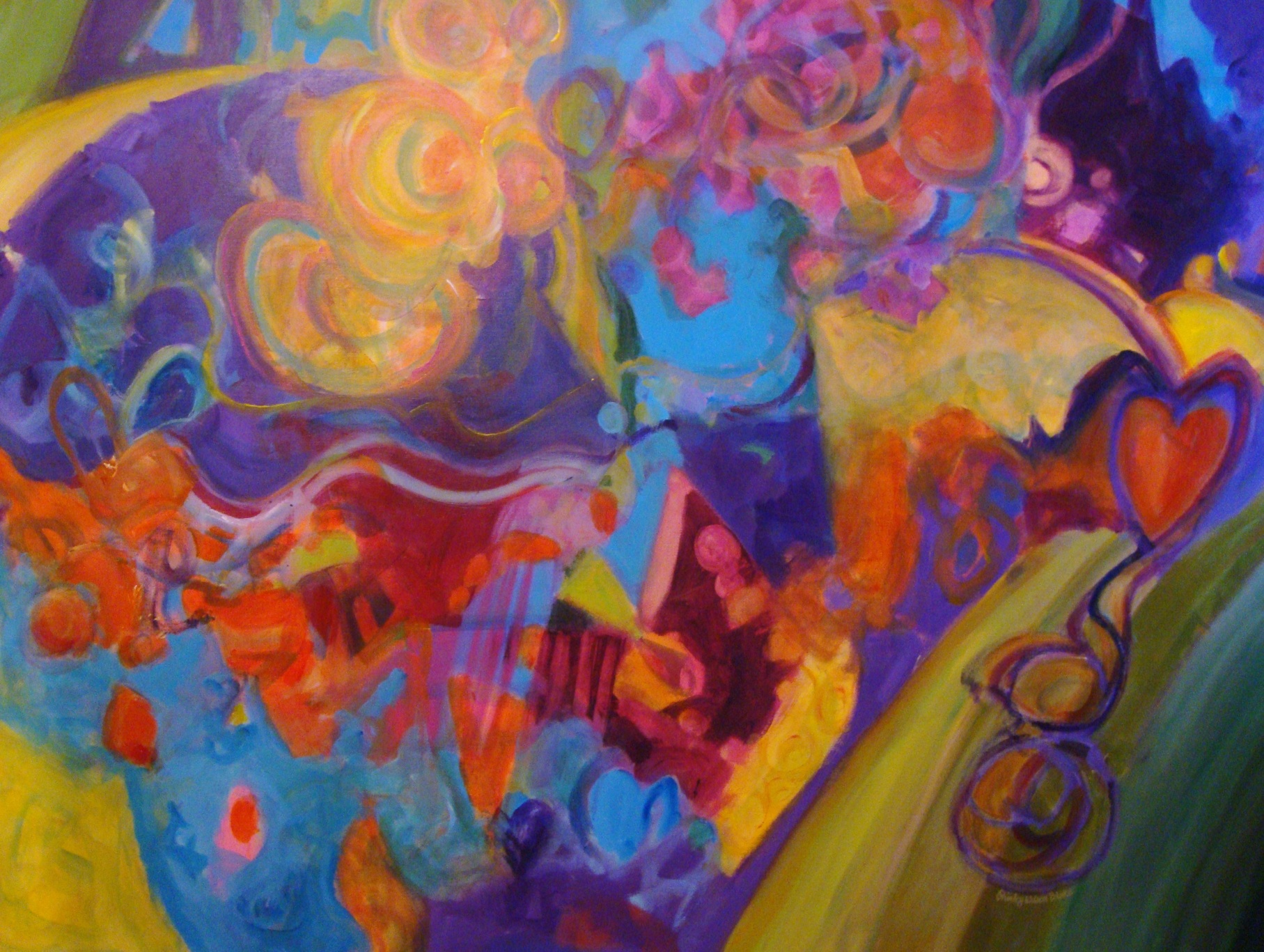 """It is a piece called """"My Heart Sings"""" and is an acrylic on canvas sized 36"""" x 48""""."""