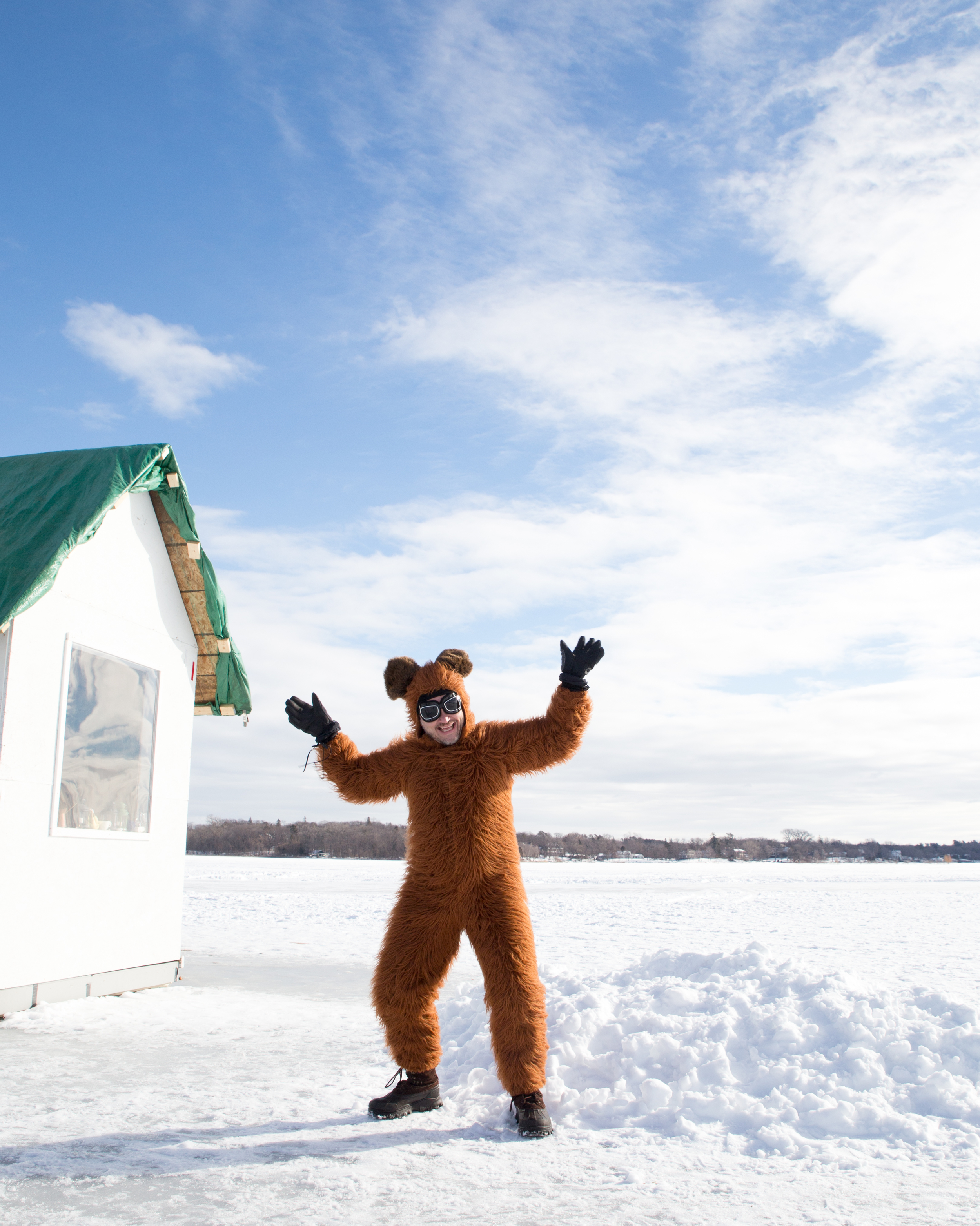 There's a teddy bear running around outside - as part of the Slumber Party Shanty