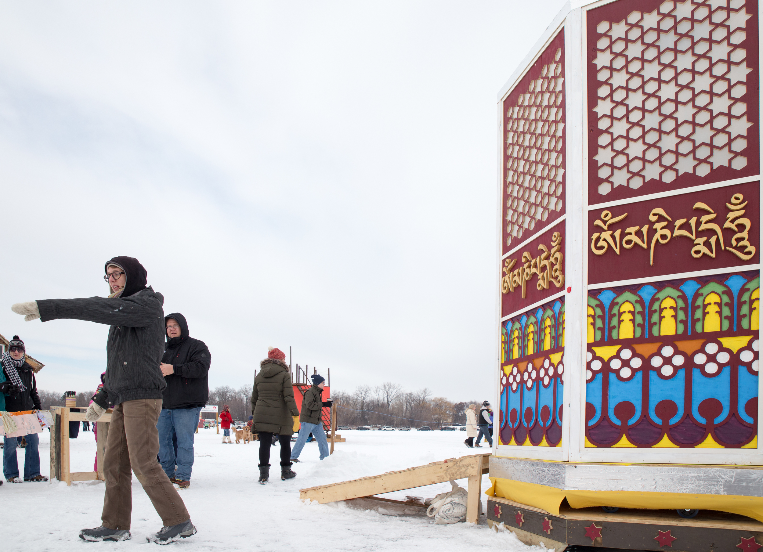 The Shanti Shanty is the only spinning shanty! Designed after a Tibetan prayer wheel, you can decorate your own prayer flag and give the shanty a spin!