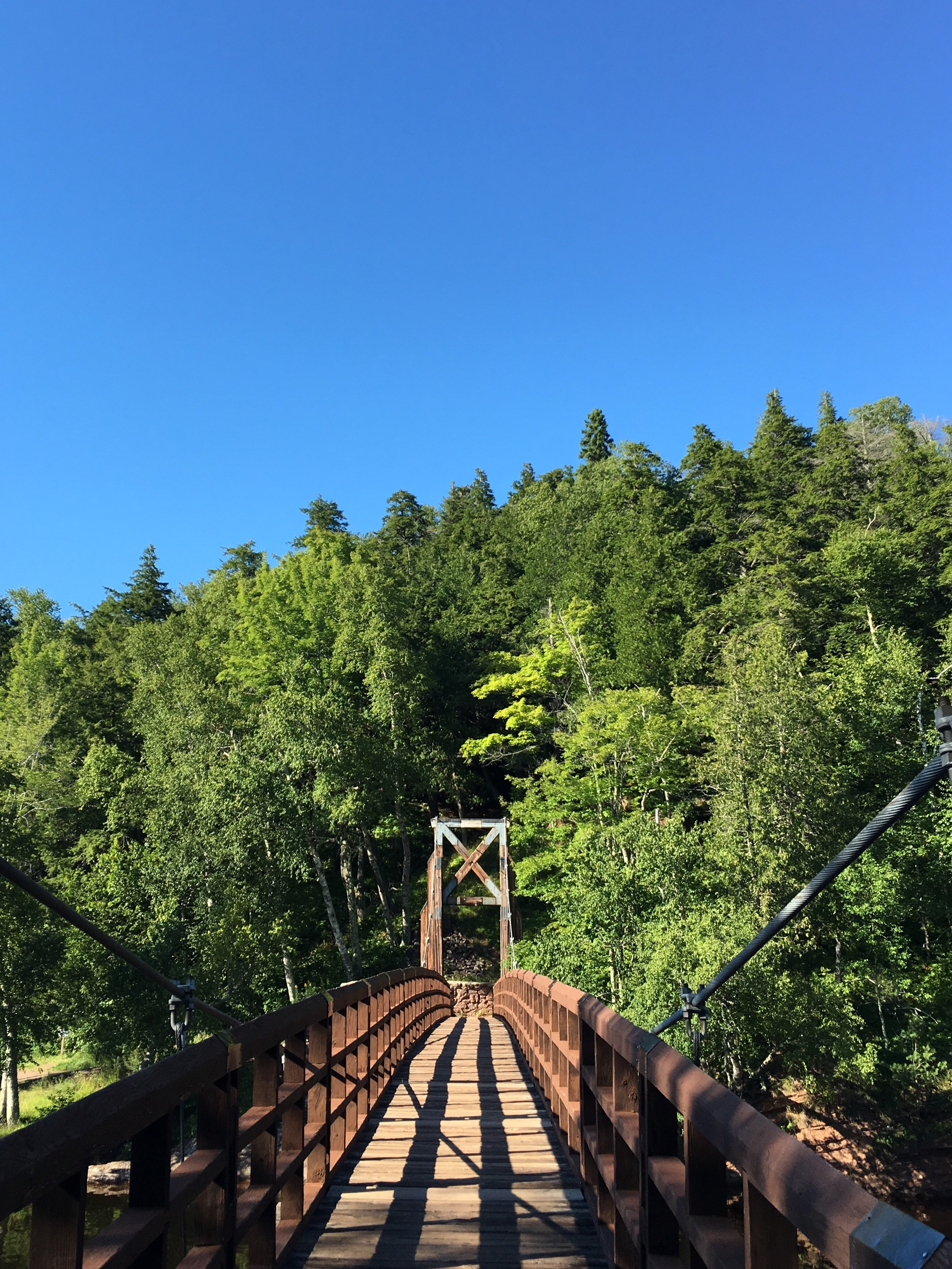 A suspension bridge over the Black River