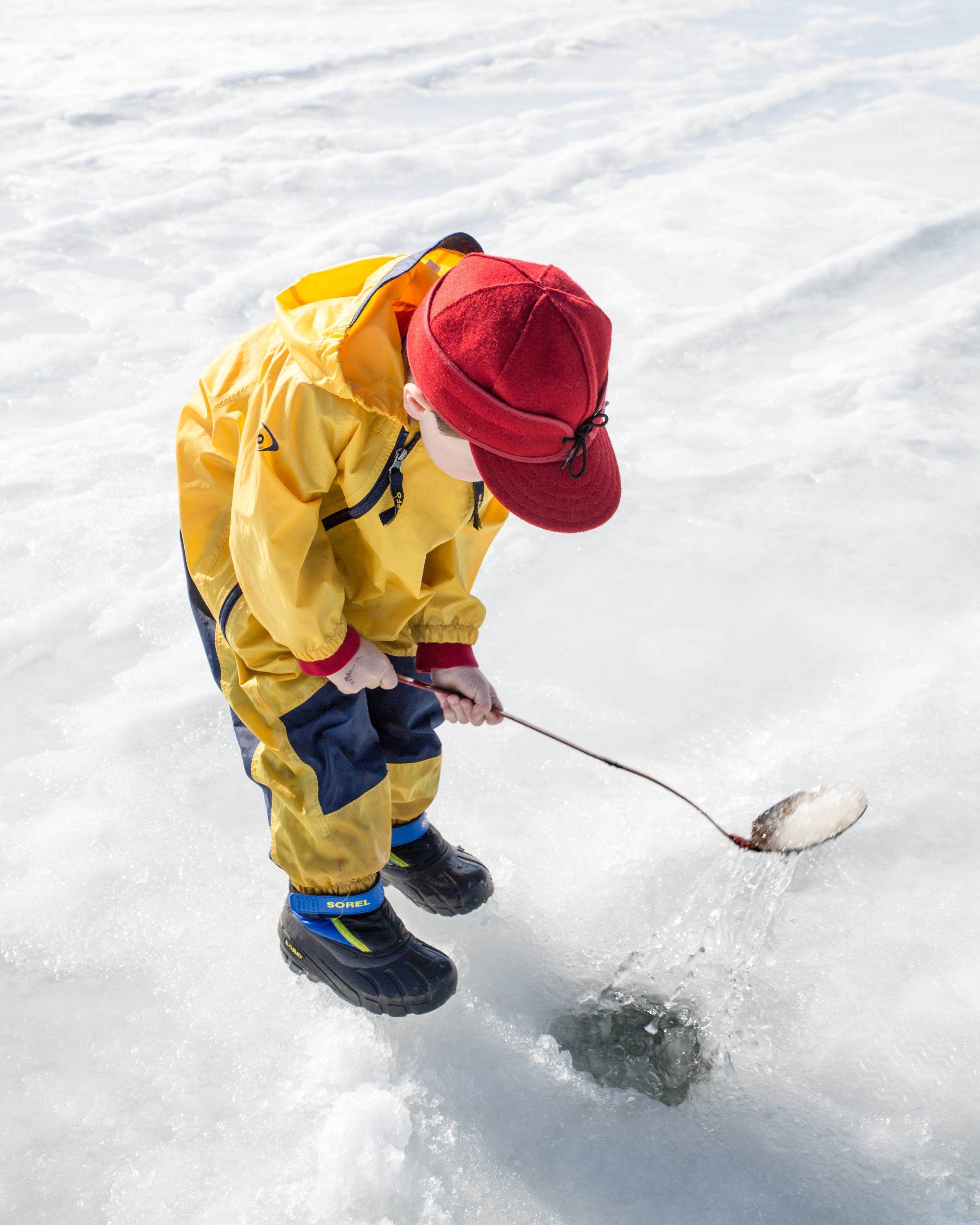 Next: Arlo scooped out any floating ice