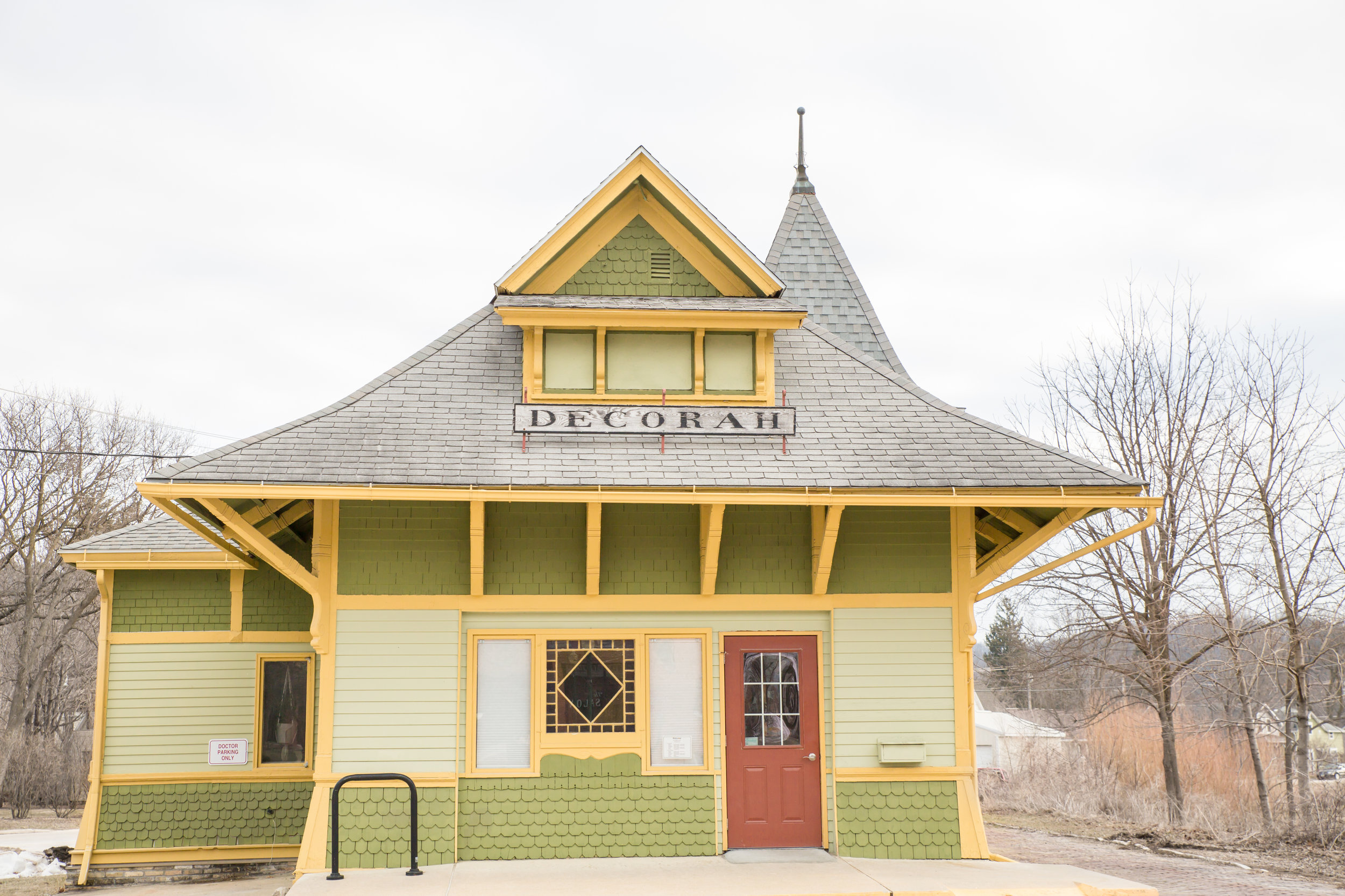 historic train station turned doctor's office.