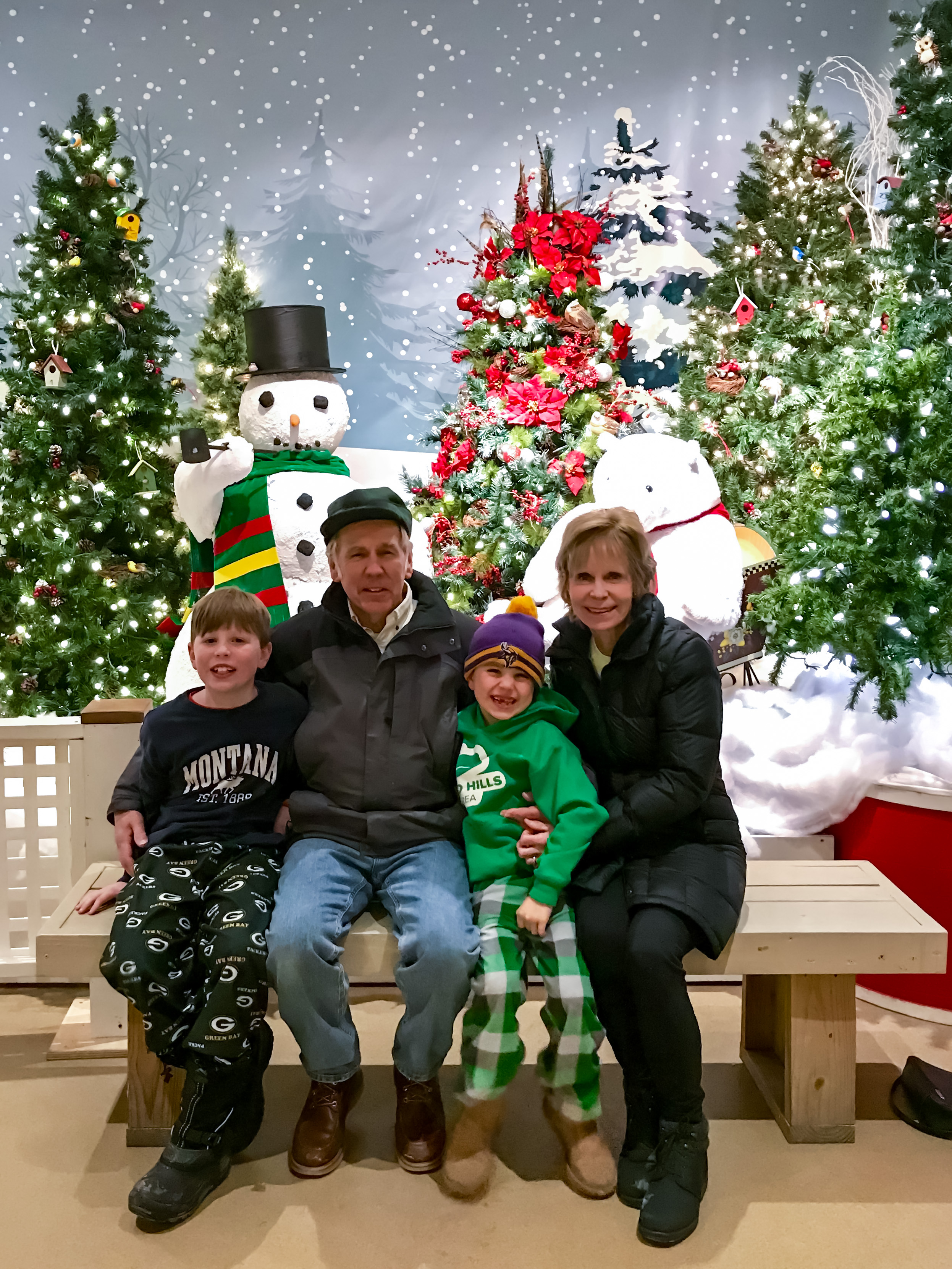 Christmas lights show in Oconomowoc Wisconsin with Grandma and Grandpa