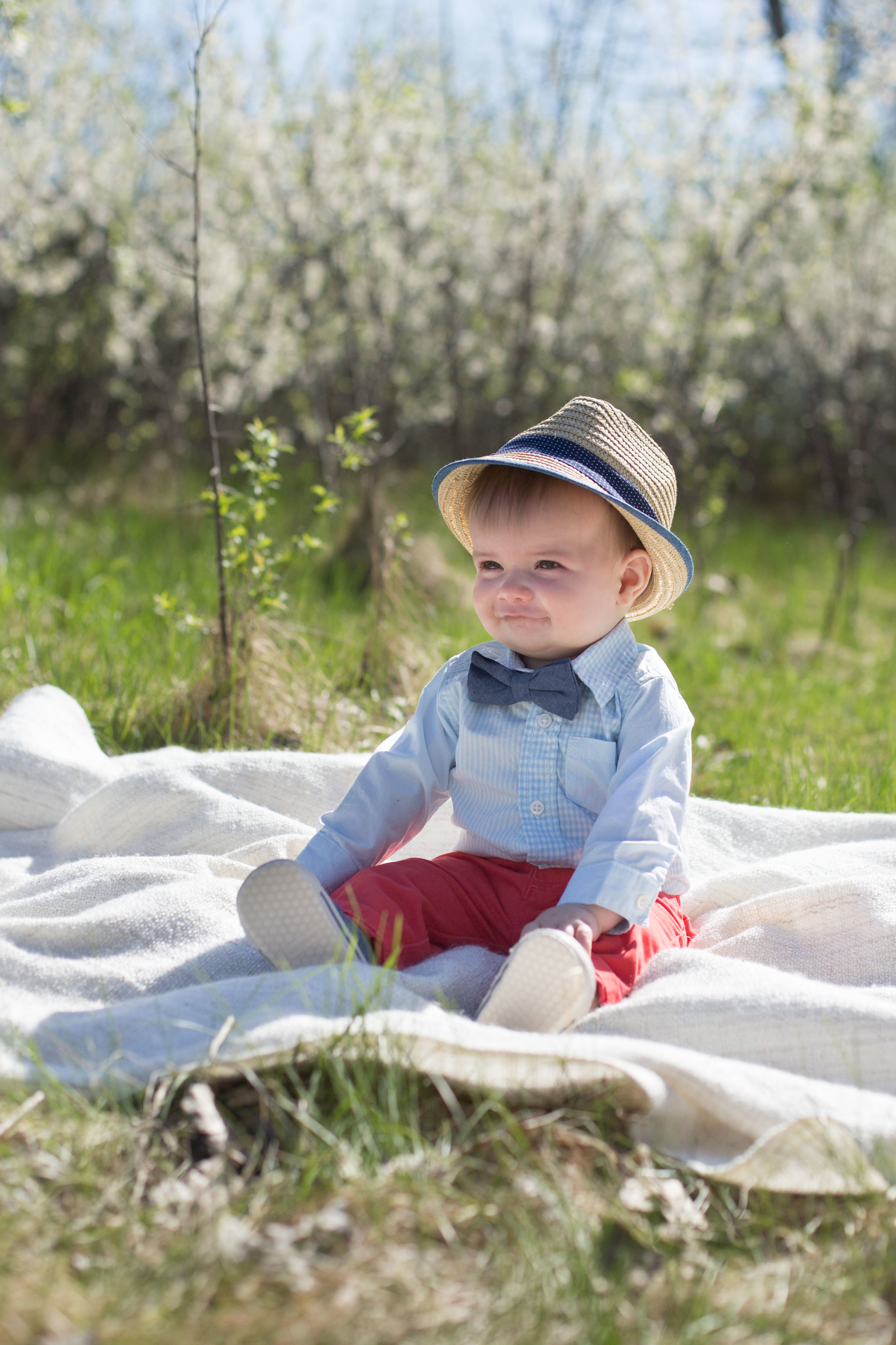 six month baby boy with hat