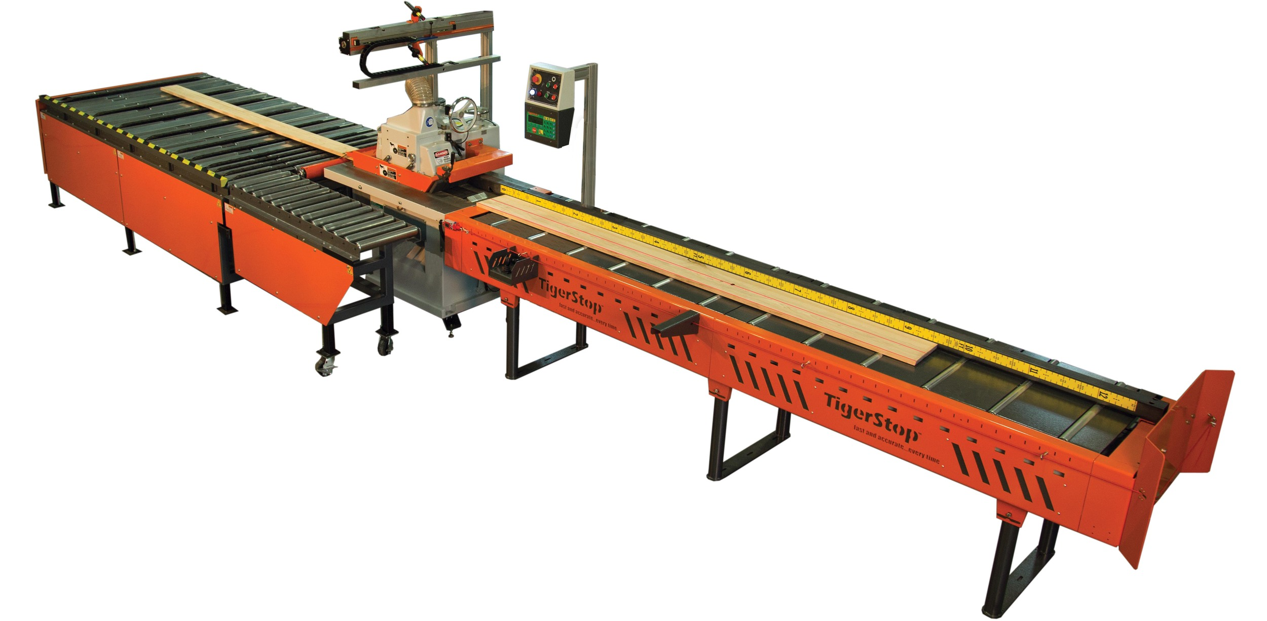 TigerRip 1000 - This straight line rip saw system provides the features of much larger systems, giving you glue line accuracy and significantly improved yield.