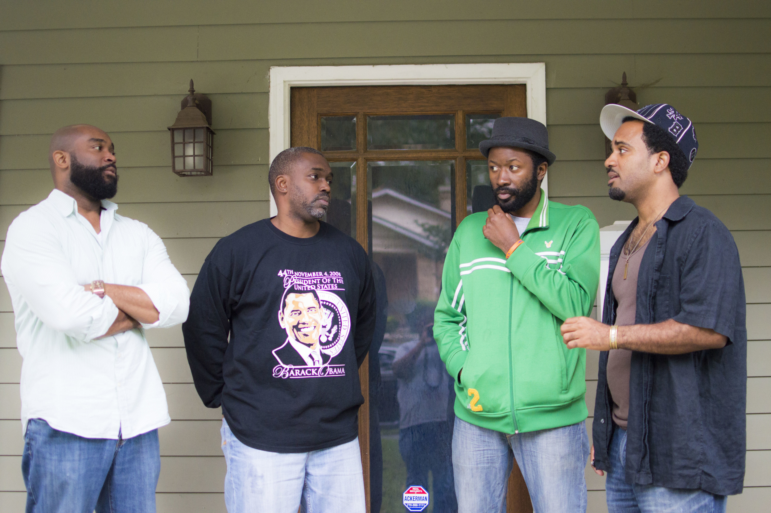 From Left To Right: Carlus Houston (Shane), Kerwin Thompson (Chris), Playwright Paris Crayton III and Anthony Goolsby (Tyriq) (Image by Jay Ray)
