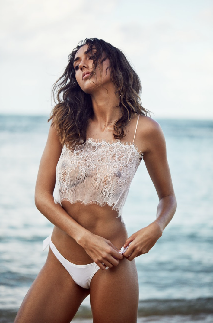 I Am Zazie Aurora Chantilly Lace Crop Top Apres Beachwear Shannon Lawson