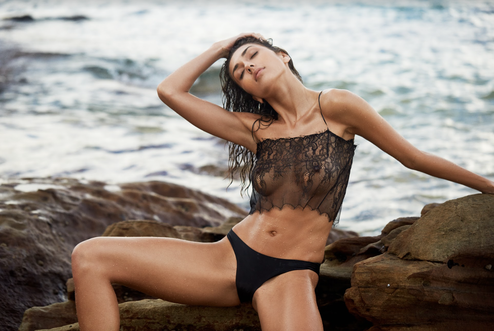 Yvie Cheeky Bikini in Espresso styled here with our  Aurora Chantilly Lace Top in Black