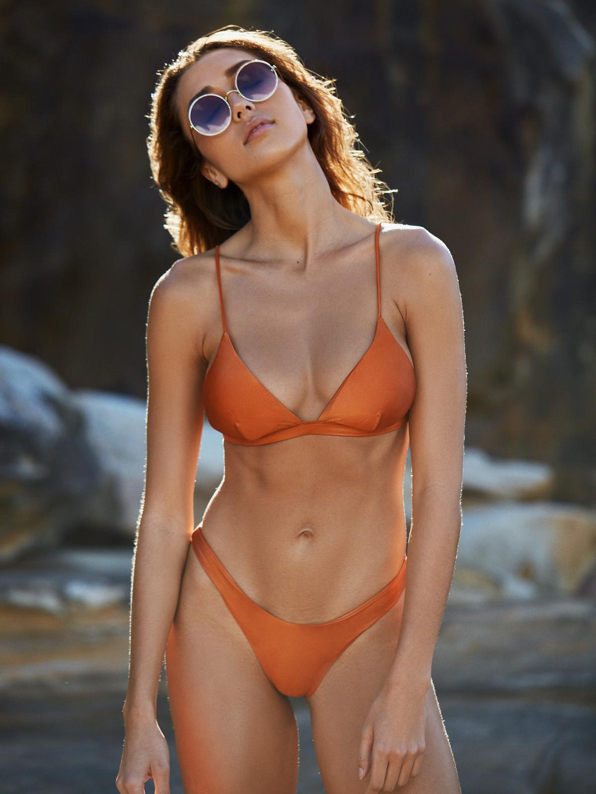 I Am Zazie Swimwear Harper Triangle Bikini Top Orange Whiskey Bella Hadid