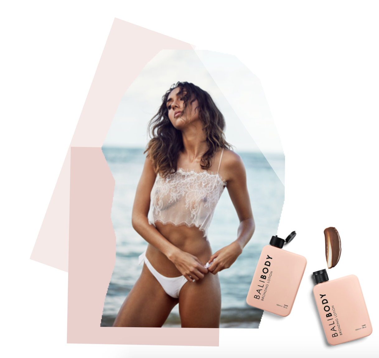 I AM ZAZIE  Aurora Chantilly Sheer Lace Top  from our Après-Beachwear collection X BALI BODY  Bronzing Lotion .