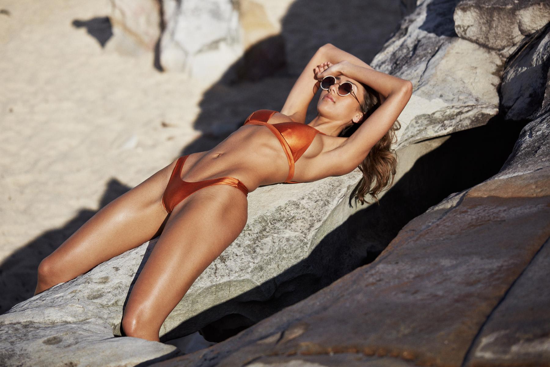 I AM ZAZIE Swimwear Campaign - The Harper Luxe Triangle Bikini Top & Yvie Luxe Cheeky Bikini Pant in 'Whiskey' Italian Lycra.  SHOP THE LOOK HERE →