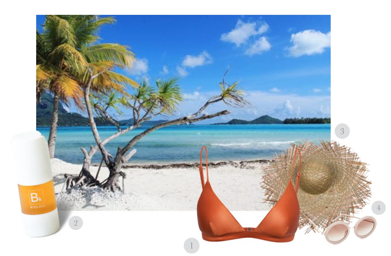THE TAHITIAN BEACH ESCAPE -1.  Harper Luxe Triangle Bikini Top  in Whiskey by  I Am Zazie Swimwear 2. Bk Eye Serum 100% Kakadu Plum  by  Biologi  3.Russo Straw Hat by  Lack of Color  4. Round Sunglasses by  Sunday Somewhere