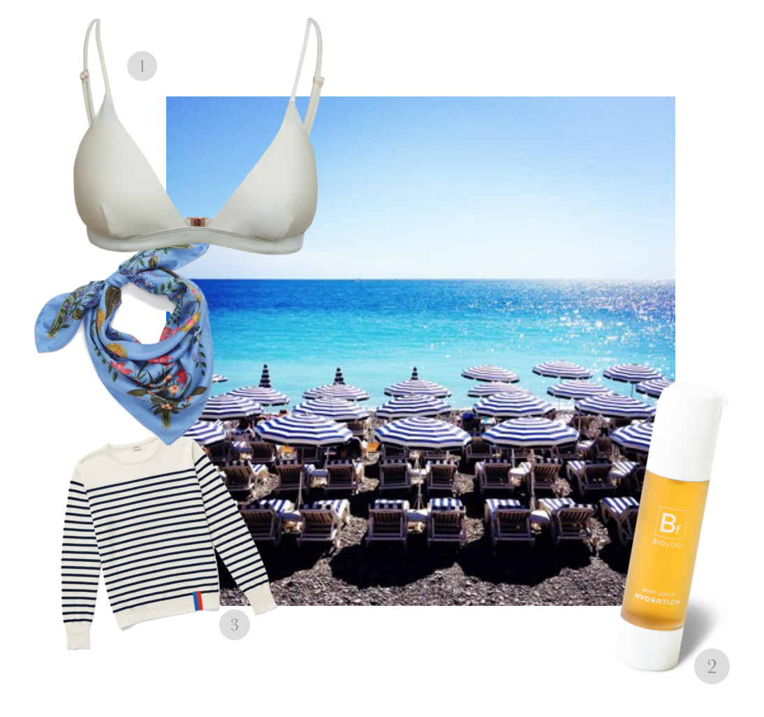 THE COTE d'AZUR VACATION ESSENTIALS -1.  Harper Triangle Bikini Top  in Coconut by  I Am Zazie Swimwear  2.  Bf Hydration Body Serum 100% Finger Lime  by  Biologi  3.  Cashmere Sweater  by  Kule