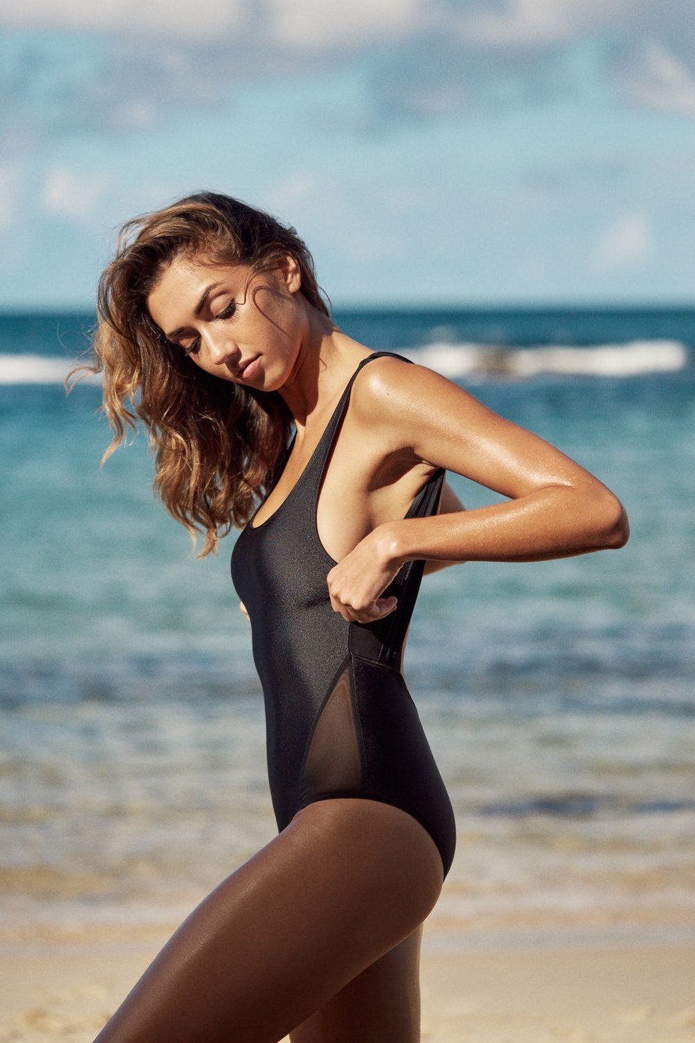 I Am Zazie Myla Contour One Piece Swimsuit in Espresso Bathing Suit