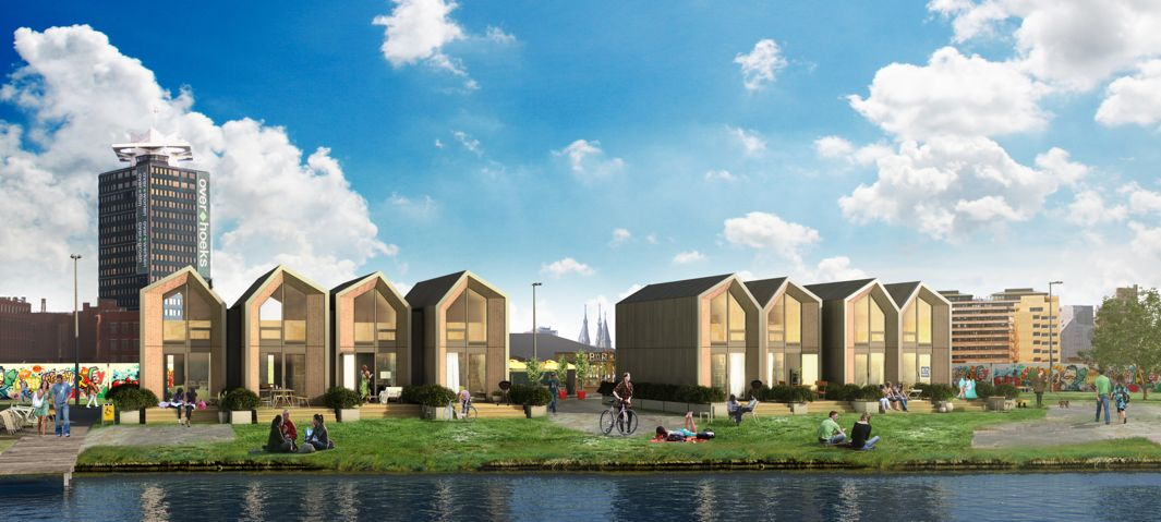 Rendering of what a pop-up neighborhood of houses might look like as envisioned by the Dutch building company Hejimans.