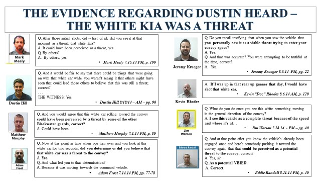 Government witnesses say the white kia credos represented a threat to the safety & security of the state department convoy