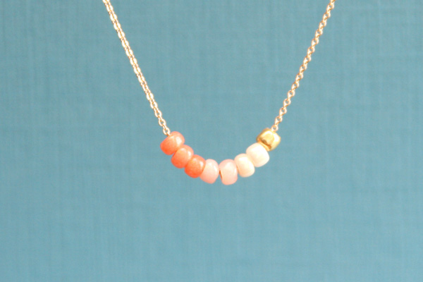 Coral Ombre & Gold Bead Row