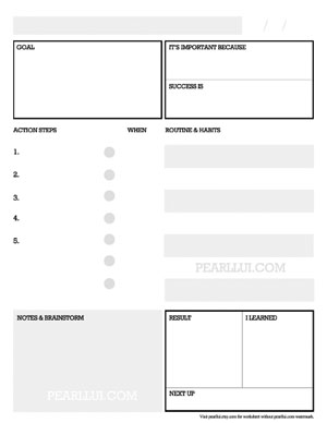 Designed by Pearl Lui: Free Download Goal Setting Worksheet for   Action Planning and Successful Habit Building. For watermark-free version, visit  pearllui.etsy.com .