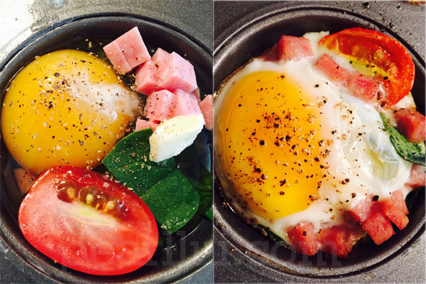 Delicious and easy to make Baked Eggs with spam, grape tomato, and spinach.