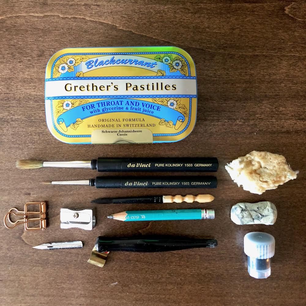 What's inside this  Grether's Pastilles  tin? All my basic tools in a tiny box. I love it!
