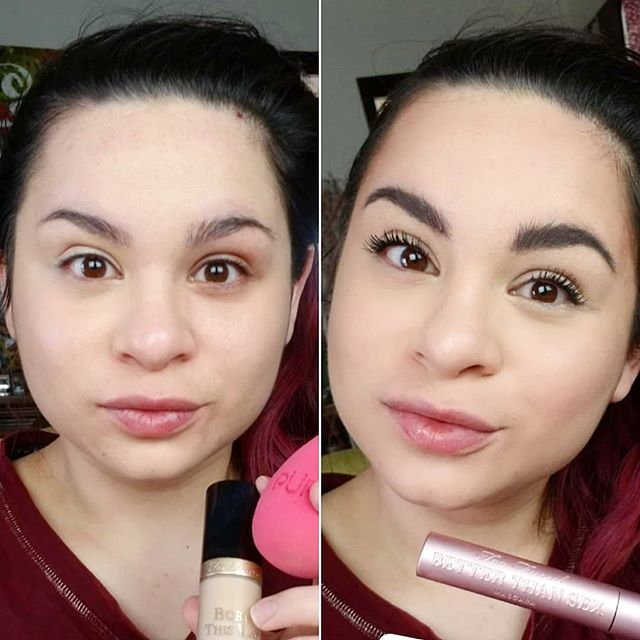 I hope I'm not too late to celebrate @tooface #NationalBetterThanSexDay !! Here is the before and after for this mascara 😍😍😍 You can also see the before and after for their multi use sculpting concealer on the left side!! . PS: I also used the @urbandecaycosmetics primer for a little extra lash conditioning 😉 . . . @milkmakeup kush brow gel @purcosmetics sponge