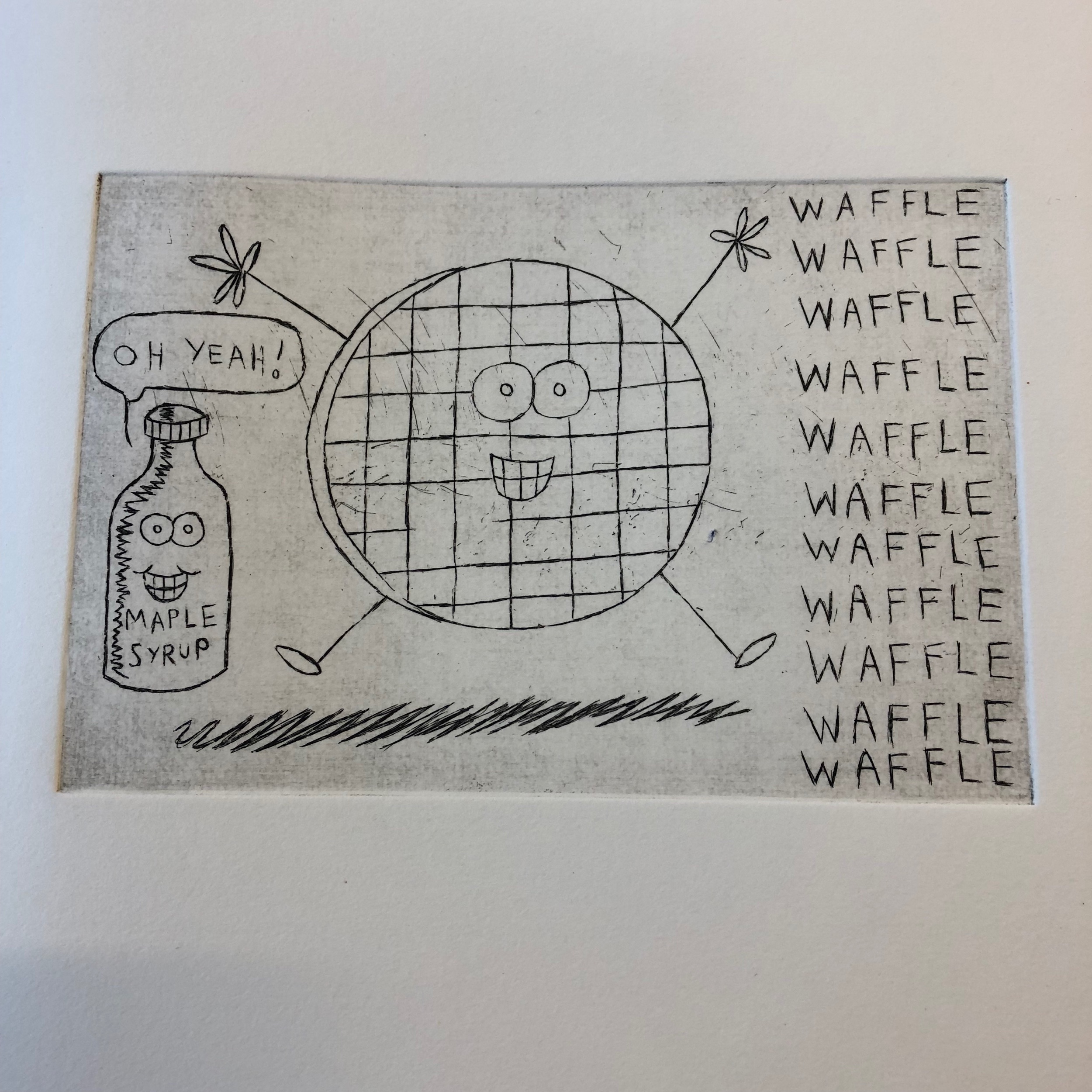 Waffle print - 1st state. I missed a line so I went back with some hard ground and added some more linework to it.