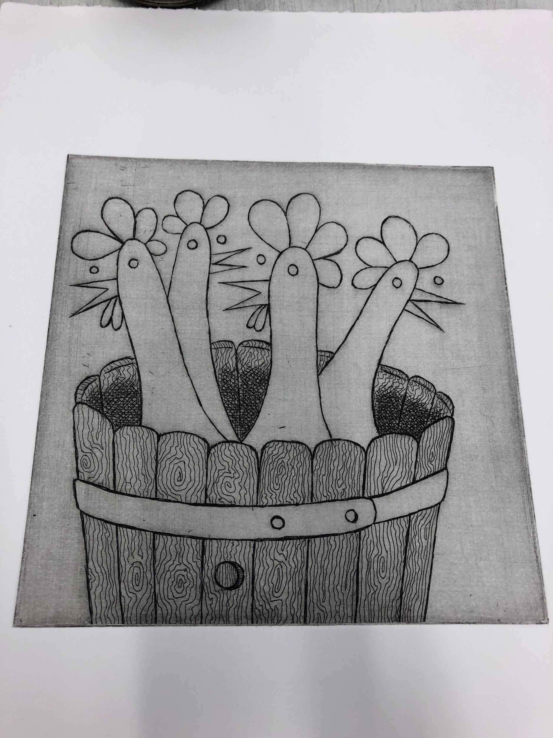 The first state of my Chickens in a Barrel print.