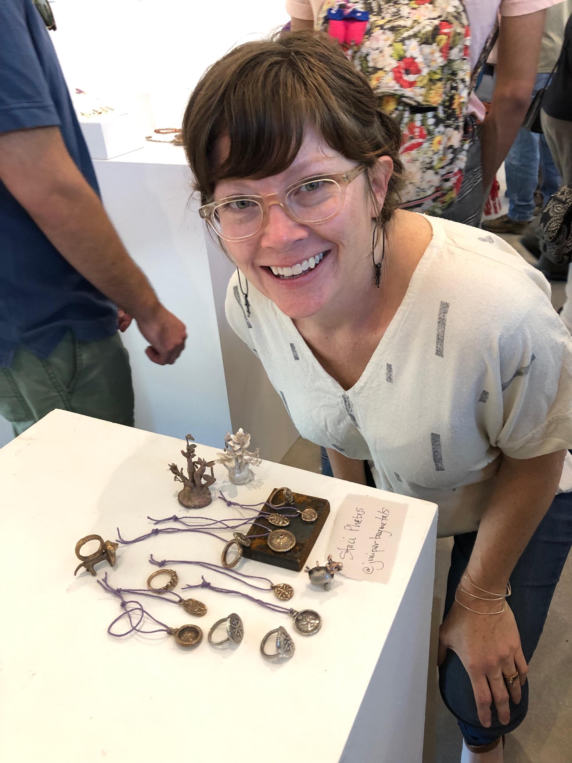My friend and neighbor, Staci Sawyer, and her amazing cast jewelry.