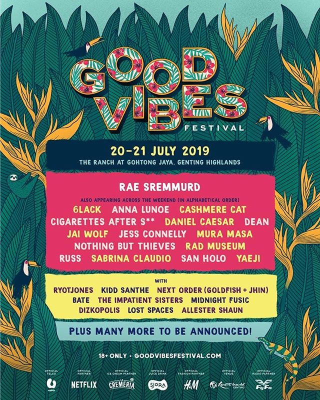 Good Vibes Festival returns on 20 & 21 July 2019 at The Ranch @ Gohtong Jaya, Genting Highlands.  Stay tuned as we announce even more acts soon.  Tickets will be available at www.goodvibesfestival.com starting from the following dates:  Monday, 25 March 2019 - 12:00 pm Exclusive Early Bird and VIP pre-sale for U Mobile customers only. You will need a promo code from the MyUMobile app to access this sale.  Tuesday, 26 March 2019 - 11:00 am General public sale.  This event is open to those strictly aged 18 years old and above only.  For more information, please visit www.goodvibesfestival.com.  #GVF2019 #LiveYourMusic
