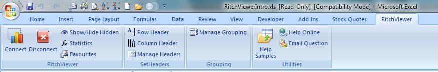 RitchViewer Excel Menu Bar