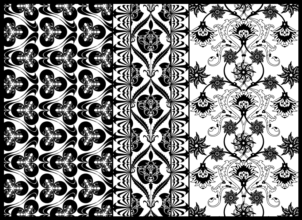 Traditional Ottoman tile patterns incorporating Nike, Starbucks, Apple and Coca-cola logos (project details here)         P R O J E C T  C O N C E P T S A N D  I D E A S     Elementscommon to patterns inOttoman design and contemporary everydaylife    I. Repetition  Patterns are defined by repetition and the repetition of patterns is predictable, offering certainty in theface of uncertainty, even order in the midst of chaos. I first had this thought when I was putting togethermy project proposal: that in the turmoil ofconquering and subjugating civilizations and trying to defendand hold an empire together, the Ottoman rulers lived a precarious existence. So how comforting tosurround themselves with motifs that repeated infinitely in predictable sequences. Do I resort topatterned behaviors myself in the face of the uncertainty of navigating a foreign culture? If so, what arethey?  1. I go to Iznik Foundation every day 2. I'm drawn to stores where I know the products (I try to resist but sometimes it's a relief to surrender) 3. when I'm uncertain or feeling exposed I head for Starbucks. I know exactly whet to expect there (a branded and therefore predictableexperience)     II. The infinite      III. Navigation of time  Time is inherent in patterns. As patterns are defined by repeating motifs,  a. each occurrence of the repeating motif is a visual event; in connecting them, patterns form a timeline.  b. in the repetition of their motifs, patterns have a frequency  c. importantly, Ottoman patterns are infinite. (Does this mean there is no time in them?)  Before the establishment of the secular republic in 1923 there were no clocks in Turkey. Think aboutwhat that means – the only way of moving through the day so that you get things done on any kind of scheduleis by paying attention to the movements of the sun and the call to prayers. The call becomes a timekeeper,like setting an alarm clock 5 times a day to remind people of the most important responsibilityof human existe