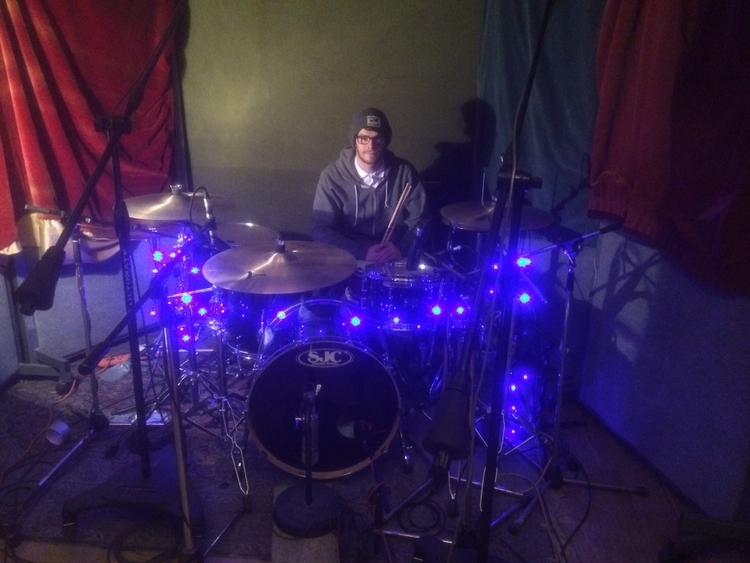 Steve Muncaster with his SJC kit at Fish Factory Studios